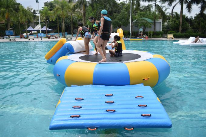 0.9mm PVC Tarpaulin Inflatable Water Trampoline Combo For Swimming Pool