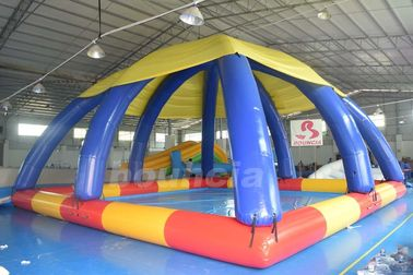 ประเทศจีน Commercial Grade PVC Tarpaulin Inflatable Water Pool With Tent โรงงาน