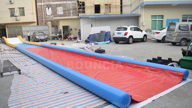 ประเทศจีน 27m Long Air Sealed Inflatable Water Slides For Lakeside / Inflatable Slip N Slide โรงงาน