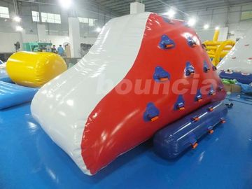 Red Inflatable Iceberg With 2 Sides Climbing For Swimming Pool