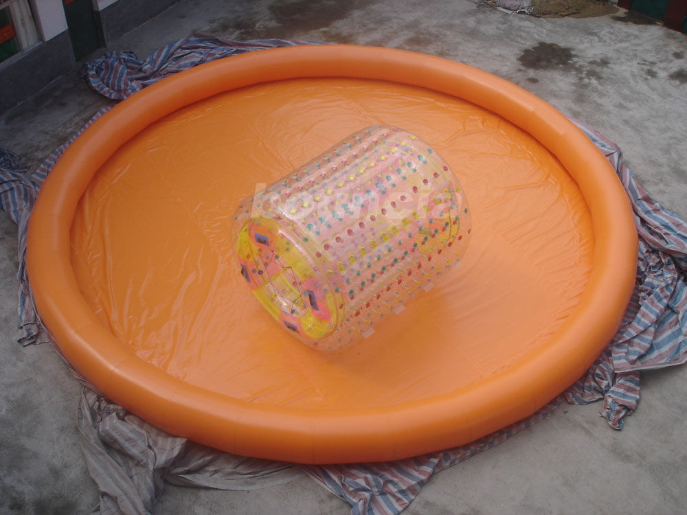 Orange Color Round Inflatable Water Pool For Water Walking Roller