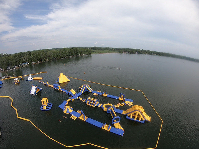 Outdoor Inflatable Water Park 50m*34m Maximum 120 People Capacity